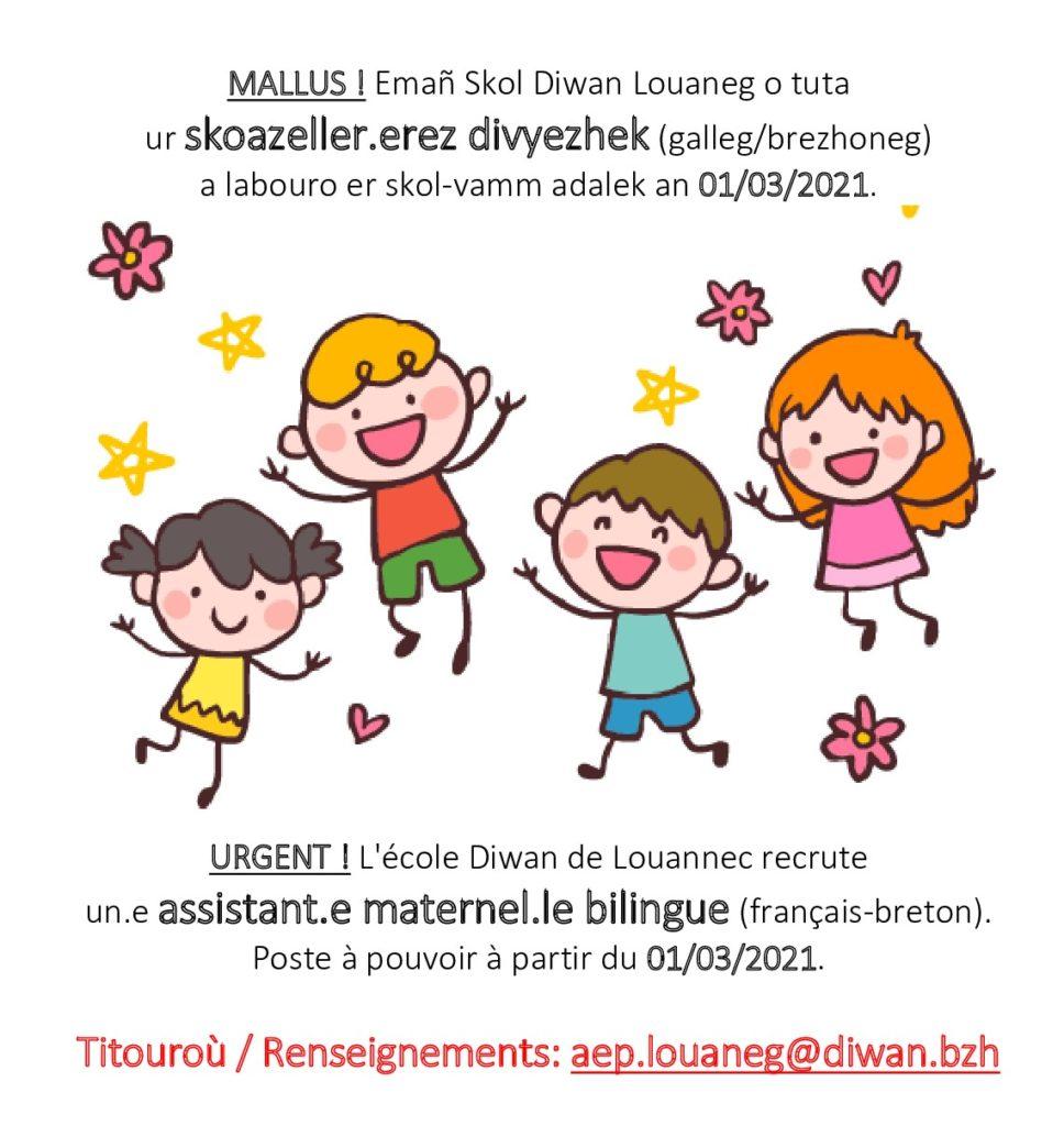 recrutement assistant.e maternel.le bilingue français breton